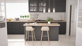 Skandinaviskt klassiskt kök med trä- och gråa detaljer, halvnot vektor illustrationer