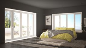 Skandinaviskt minimalist sovrum för vit och för guling med det panorama- fönstret, pälsmatta och fiskbensmönsterparketten, modern stock illustrationer