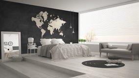 Skandinaviskt minimalist sovrum, minimalistic modern inre de Arkivfoton