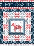Skandinaviskt stilkort för glad jul som är inspirerat vid norsk jul, sömlös modell för festlig vinter med den Dala hästen vektor illustrationer