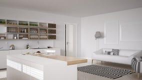 Skandinaviskt vitt kök, minimalistic inredesign arkivfoto