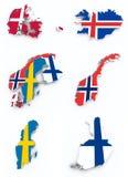 Skandynaw flaga na 3d mapie ilustracji