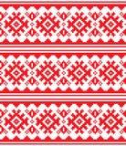 Skandynaw, Północny wektorowy bezszwowy wzór, Lapland ludowej sztuki długi czerwony projekt, Sami tradycyjnej broderii ludzie Fotografia Royalty Free