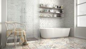 Skandynawska łazienka, klasycznego białego rocznika wewnętrzny projekt Zdjęcia Royalty Free