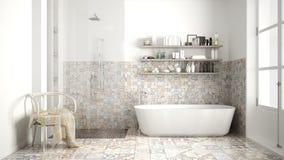Skandynawska łazienka, klasycznego białego rocznika wewnętrzny projekt Zdjęcie Royalty Free