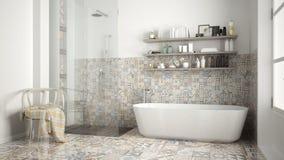 Skandynawska łazienka, klasycznego białego rocznika wewnętrzny projekt Zdjęcia Stock
