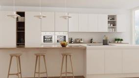 Skandynawska biała kuchnia, wewnętrzny spacer, równomierny krzywka, minimalistic projekt zbiory