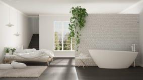 Skandynawska biała minimalistyczna łazienka i sypialnia, otwarta przestrzeń, Zdjęcia Royalty Free