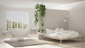 Skandynawska biała minimalistyczna łazienka i sypialnia, otwarta przestrzeń, Fotografia Royalty Free