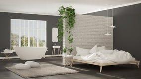Skandynawska biała minimalistyczna łazienka i sypialnia, otwarta przestrzeń, Zdjęcie Stock