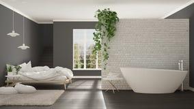 Skandynawska biała minimalistyczna łazienka i sypialnia, otwarta przestrzeń, Obraz Royalty Free