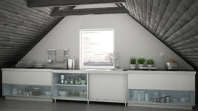 Skandynawska Przemyslowa Kuchnia Loft Mezonin Dachowy Architectu