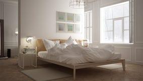 Skandynawska sypialnia, biały minimalistic projekt, hotelowy zdroju resor royalty ilustracja