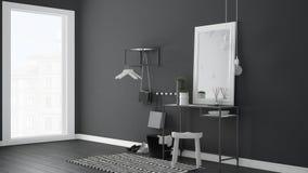 Skandynawska wejście lobby sala z stołem, stolec, dywanem i m, Obraz Royalty Free