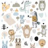 Skandynawski dzieciaków doodles elementów wzoru set śliczny koloru dzikie zwierzę, charaktery i: zebra, niedźwiedź, rogacz, wiewi ilustracji