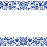 Skandynawski ludowej sztuki kartka z pozdrowieniami retro wektorowy projekt, kwiecisty ornament w marynarki wojennej błękicie Zdjęcie Stock
