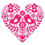 Skandynawski ludu wzór z ptakami i kwiatami walentynki ` s dzień lub urodzinowa karta - różowy projekt, Fiński inspirowany - Zdjęcia Stock