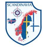 Skandynawski projekt Heraldyczna osłona, tło mapa Skandynawscy kraje, - Szwecja, Norwegia, Dani i ilustracja wektor
