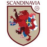 Skandynawski projekt Heraldyczna osłona, wilk na tło mapie Skandynawscy kraje - Szwecja, Norwegia, Dani ilustracja wektor