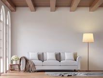 Skandynawski żywy pokoju 3d renderingu wizerunek Obrazy Royalty Free