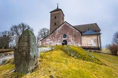 Skanela, Schweden - 1. April 2017: Skanela-Kirche, Schweden Lizenzfreie Stockbilder