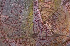 Skanela, Schweden - 1. April 2017: Viking-runestone in Skanela Chu Stockbilder