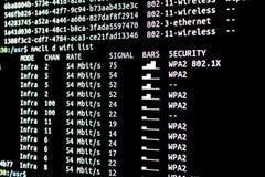 Skanerowania wifi sieci dostępne Obwąchania wifi Fotografia Royalty Free