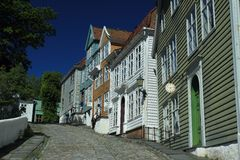 Skansen in Bergen. The historic wooden houses in the Bergen skansen, Norway Stock Images