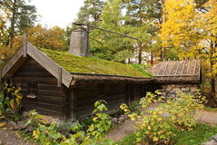 Skansen - the Hornborga cottage. Hornborga cottage, representing the house of the poor, In Skansen open air museum Stock Image