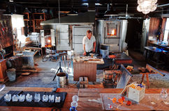Skansen, STOCKHOLM, SWEDEN. STOCKHOLM, SWEDEN - SEPTEMBER 15, 2014 : Glass blowing workshop at the Skansen. It is the world`s first open-air museum, founded in Stock Photo
