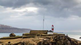 Skansin, Torshavn-vuurtoren Stock Foto