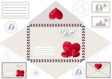 Skanuje drukować kopertę i serca, stemplującą ilustracji