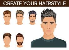 Skapa, ändra frisyrer Skägg för hipster för symbol för manhårstil, stilfull som mustasch är modernt också vektor för coreldrawill Royaltyfri Bild