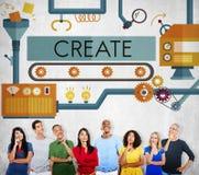 Skapa begreppet för idéer för innovationfantasiutveckling royaltyfria bilder