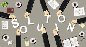 Skapa ett lösningsillustrationbegrepp Affärsfolk med pusselstycken Fotografering för Bildbyråer
