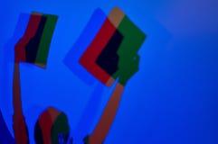 Skapa färgade skuggor i Experimentanium Arkivbilder