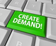 Skapa kund B för byggande för affären för begärandatortangentbordet online- Arkivfoto