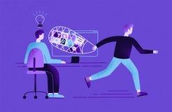Skapare som sitter på skrivbordet och arbete och plagiator eller att piratkopiera att stjäla hans idéer, innehåll, arbetsresultat royaltyfri illustrationer
