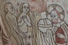 Skapelsen av mannen, en gotisk freskomålning arkivbild
