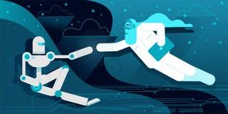 Skapelsen av roboten Adam royaltyfri illustrationer