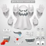 Skapelseuppsättning av teckenet för tecknad film för halloween emoticonspöke stock illustrationer