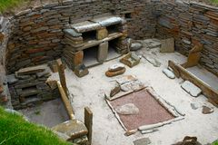 Skara Brae - Preserved neolithic house stock images