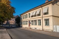 Skara, Sweden. October 6, 2016: Idyllic small town buildings in Skara. Skara is one of the oldest towns in Sweden and dates back to the 11th century Royalty Free Stock Photo