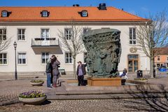 Skara, Sweden. April 3, 2015: The main square in Skara during early spring. Skara is one of the oldest cities in Sweden dating back to the 11th century Royalty Free Stock Photos