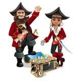 Skarbów piraci i klatka piersiowa Obraz Royalty Free