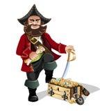 Skarbów piraci i klatka piersiowa Zdjęcia Royalty Free