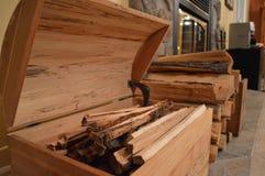 Skarb klatka piersiowa i ogienia drewno Zdjęcia Stock