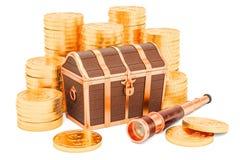 Skarb klatka piersiowa z złocistymi monetami i mosiężnym ręcznym teleskopem, 3D Fotografia Royalty Free