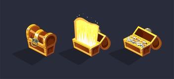 Skarb klatki piersiowej, otwartego i zamkniętego antyk, boksuje z monetami, gemowy interfejsu użytkownika element dla wideo gier  ilustracji