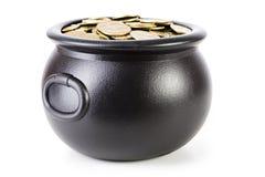 Skarb: Kocioł Pełno Shamrock monety Obraz Stock